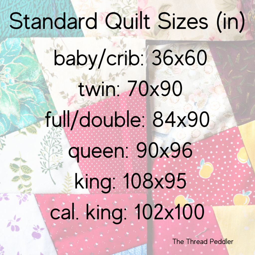 a faded quilt in the background of a quilt sizes guide in inches. Each quilt size is listed with dimensions.