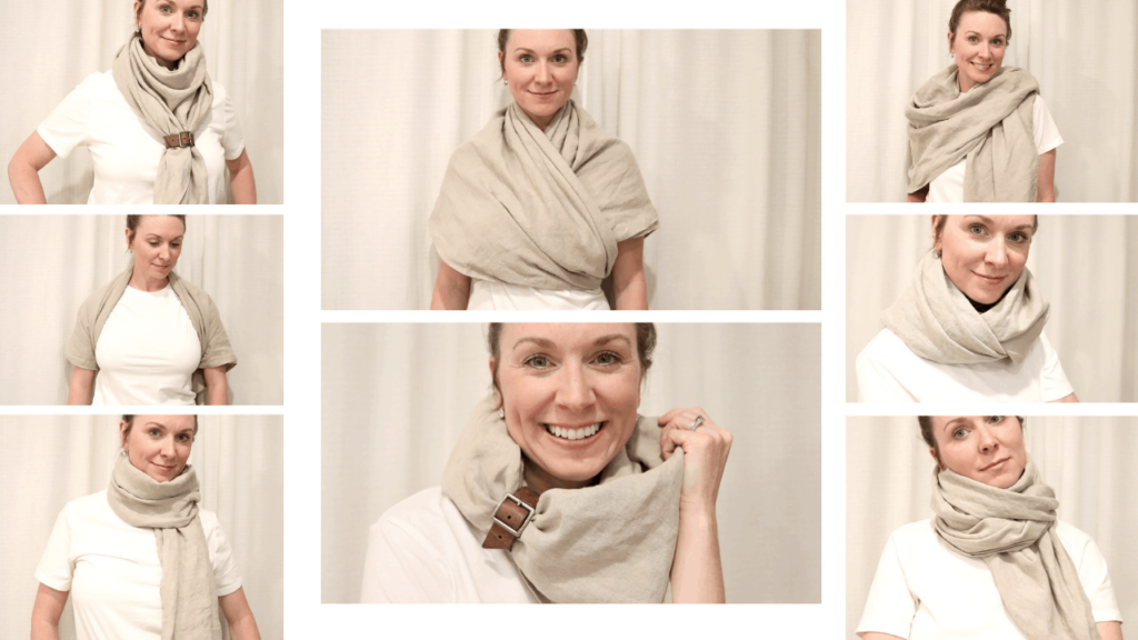 photo contains 8 separate images of a girl smiling and wearing a tan linen shawl. Each image demonstrating a different way the DIY shawl can be worn and styled.