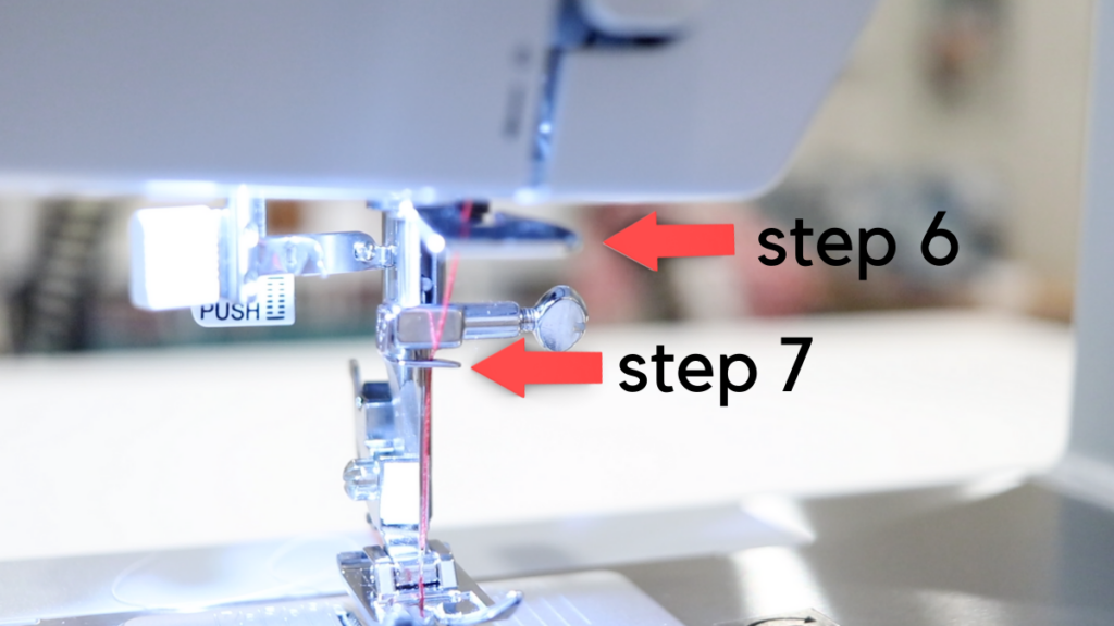 Red arrows point to step 6 and step 7 when threading a singer sewing machine